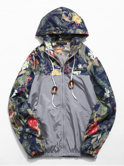 best Floral Printed Patchwork Hooded Jacket - GRAY CLOUD S Mobile