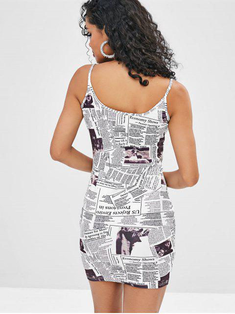 hot ZAFUL Newspaper Print Cami Dress - WHITE L Mobile