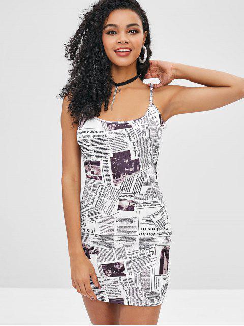 ZAFUL Robe Camisole Imprimée Journal - Blanc M Mobile