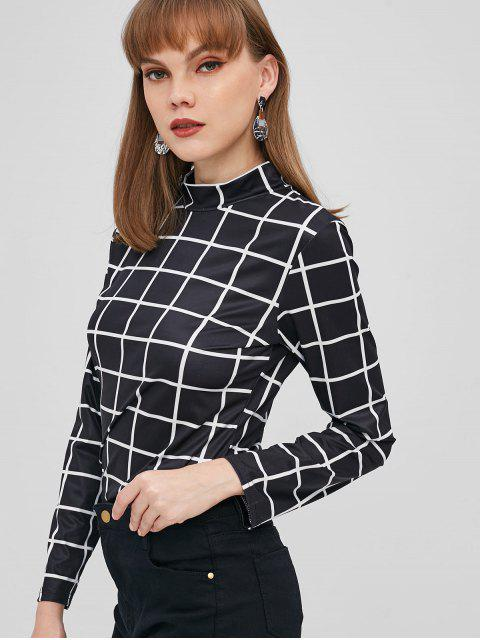 fashion ZAFUL Mock Neck Checkered Tee - BLACK M Mobile