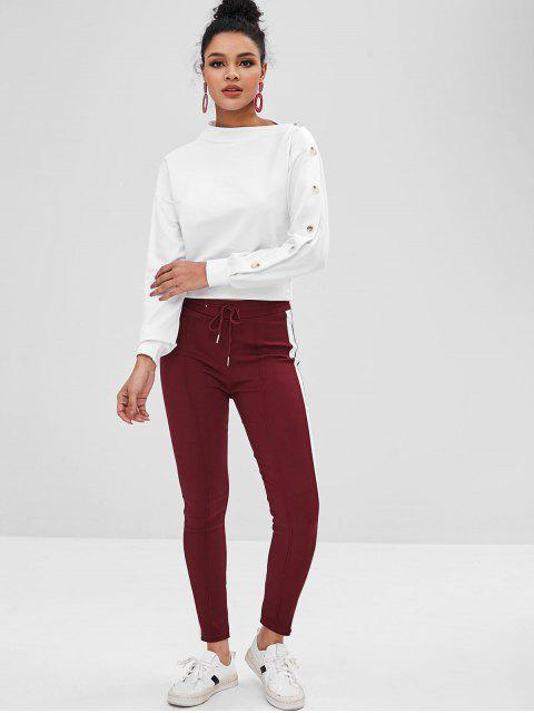 lady Contrasting Buttons Asymmetrical Neck Sweatshirt - WHITE S Mobile