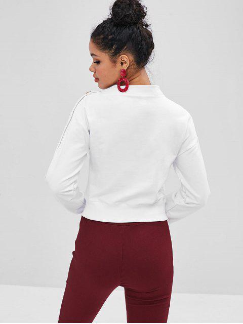 Sweat-shirt Contrasté avec Boutons à Col Asymétrique - Blanc S Mobile