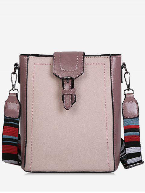 unique Buckled Stripe Wide Strap Shoulder Bag - BEIGE  Mobile