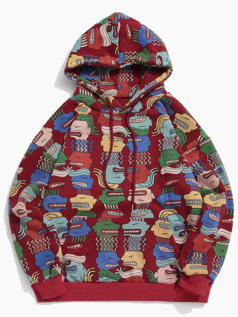 affordable Hiphop Funny Cartoon Fleece Hoodie - RED M Mobile