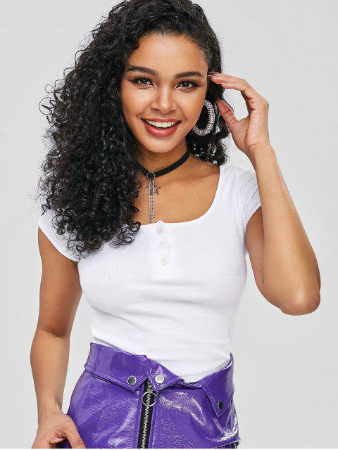 online Scoop Neck Cropped Tee - WHITE M Mobile