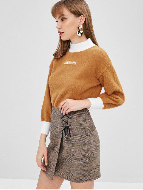 best Fuzzy Knitted Drop Shoulder Sweater - LIGHT BROWN ONE SIZE Mobile