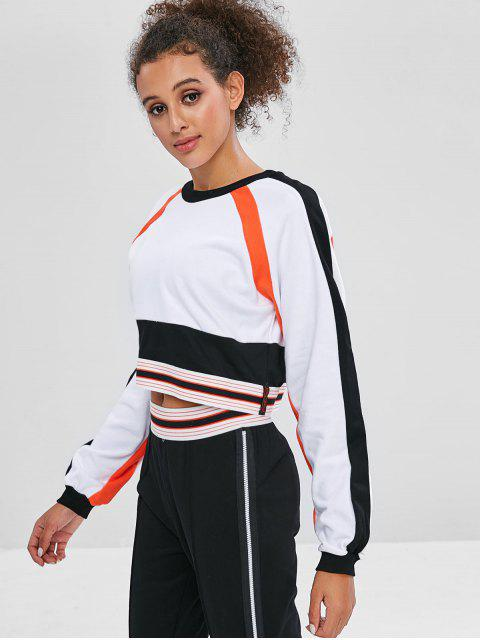 Gestreiftes Sweatshirt mit Raglanärmeln - Weiß L Mobile