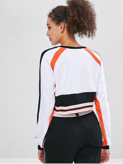 Sudadera capucha de manga raglán a rayas - Blanco L Mobile