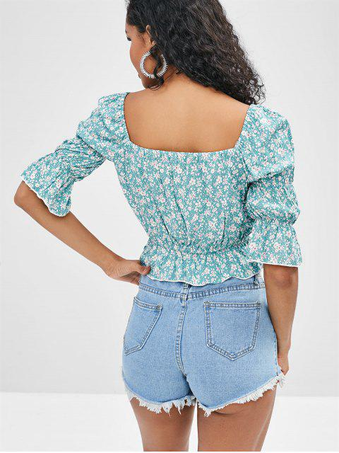 affordable ZAFUL Floral Flounce Crop Blouse - MEDIUM TURQUOISE S Mobile