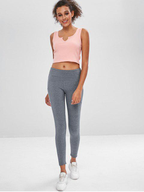 sale Ribbed Scoop Crop Tank Top - LIGHT PINK L Mobile
