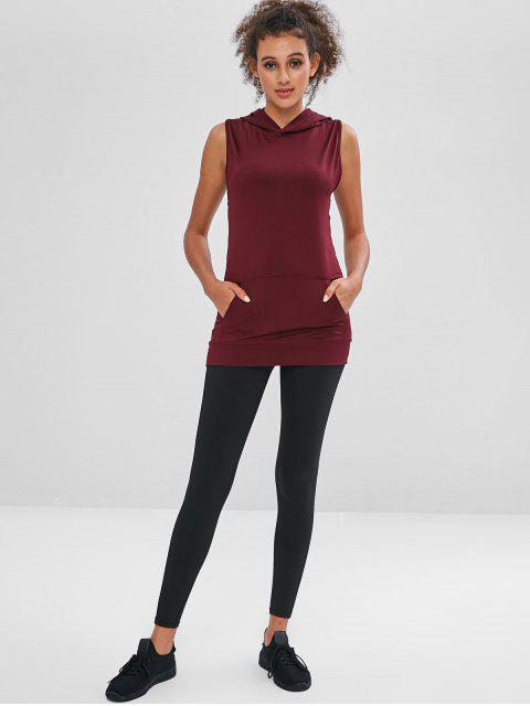 affordable Mesh Insert Twisted Sleeveless Hoodie - RED WINE L Mobile