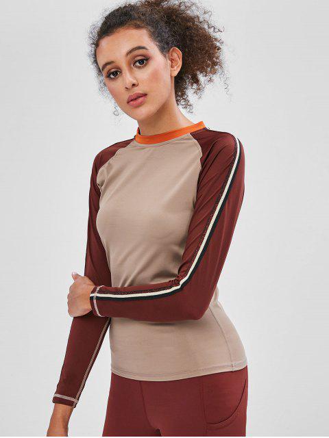Camiseta de manga raglán lateral a rayas - Multicolor-A M Mobile