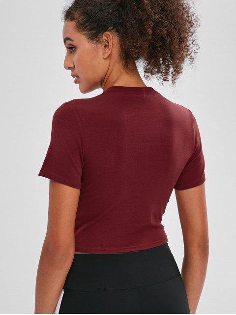 Kurzärmliges Crop-T-Shirt mit Buchstaben - Roter Wein L Mobile