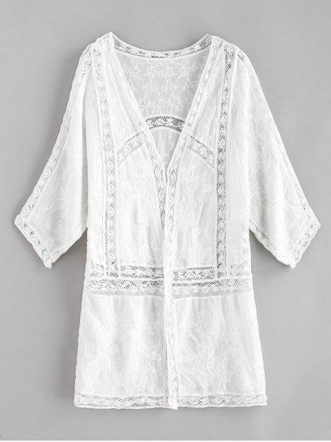 Kimono calado bordado - Blanco Talla única Mobile
