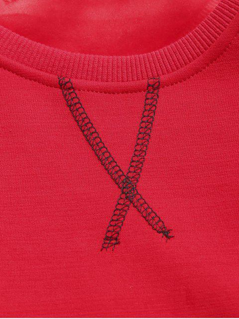 affordable Seam Detail Fleece Sweatshirt - RED S Mobile