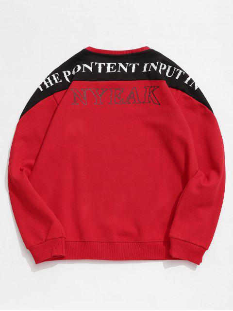 Sweat-shirt Lettre Contrasté en Laine - Rouge S Mobile