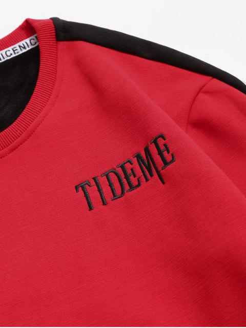 latest Contrast Letter Fleece Sweatshirt - RED M Mobile