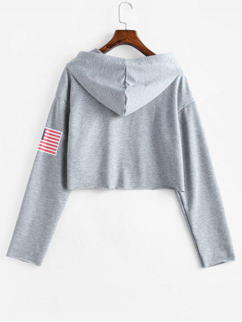 latest ZAFUL American Flag Graphic Raw Hem Hoodie - GRAY CLOUD L Mobile