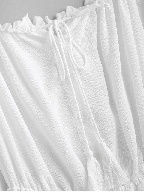shop ZAFUL Half Buttoned Tassels Off Shoulder Dress - MILK WHITE L Mobile