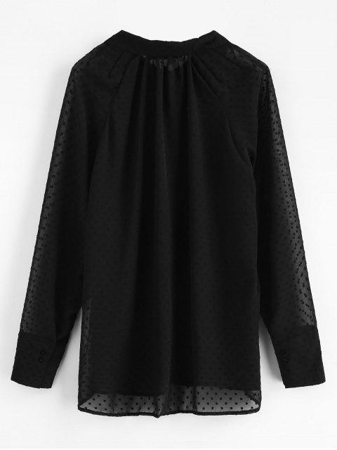 buy Semi Sheer Pockets Textured Shirt - BLACK M Mobile