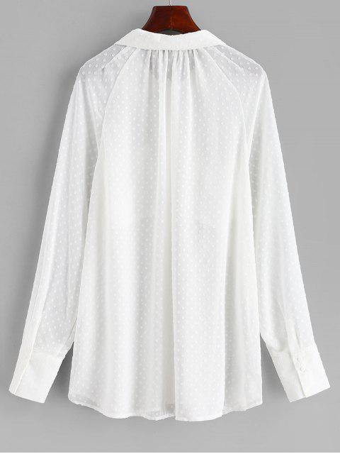 online Semi Sheer Pockets Textured Shirt - WHITE M Mobile
