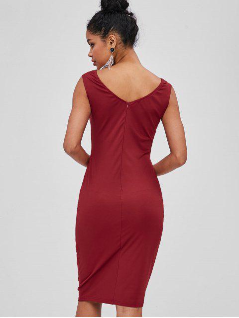 best Velvet Panel Plunge Bodycon Dress - RED WINE M Mobile