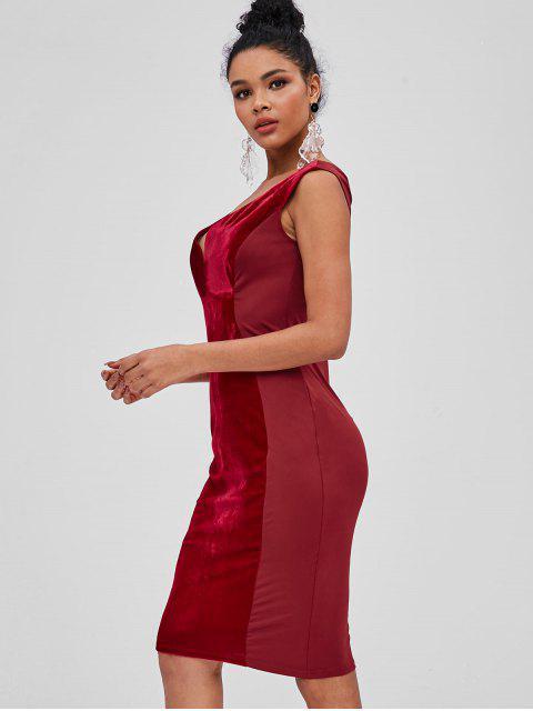 lady Velvet Panel Plunge Bodycon Dress - RED WINE L Mobile