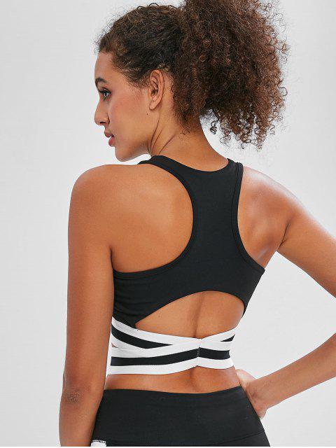 womens Cut Out Striped Racerback Bra - BLACK L Mobile