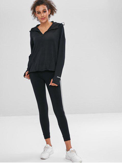 Pocket-Zipper-Jacke mit Kapuze und Armloch - Schwarz M Mobile