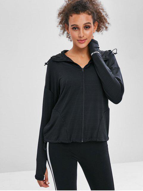 Pocket-Zipper-Jacke mit Kapuze und Armloch - Schwarz L Mobile