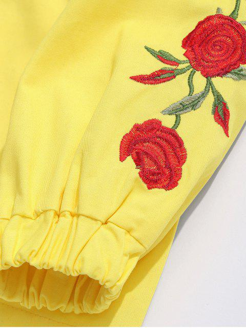 chic Zip Fly Flower Embroidery Hooded Jacket - YELLOW 2XL Mobile