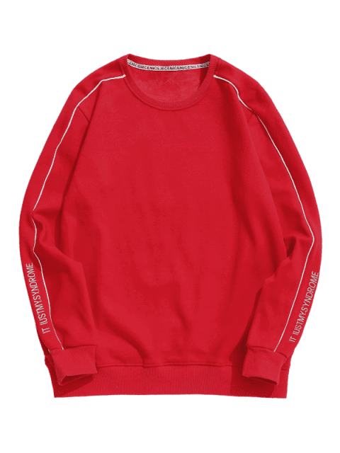 fashion Embroidery Letter Fleece Sweatshirt - RED S Mobile