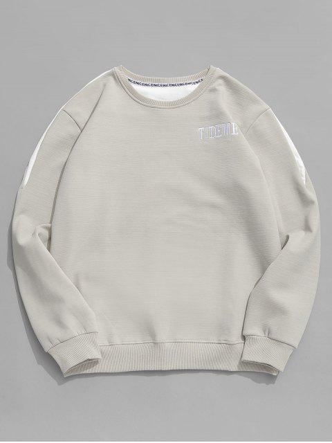 latest Contrast Letter Fleece Sweatshirt - GRAY CLOUD M Mobile