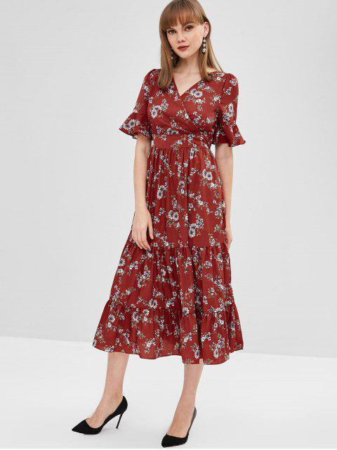 hot Surplice Floral A Line Midi Dress - MULTI S Mobile