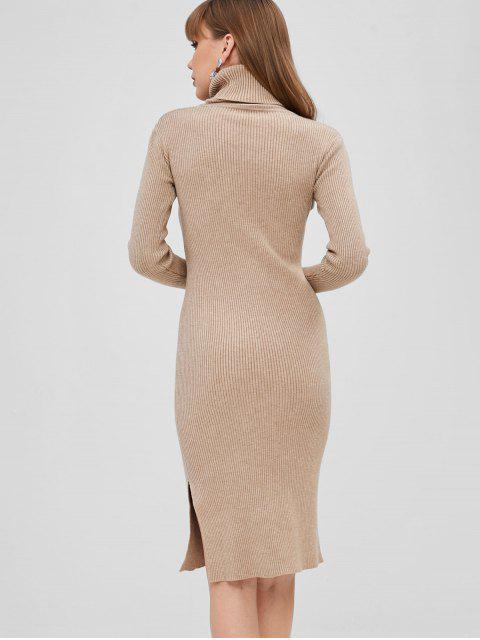 Robe Pull Moulante Fendue Côtelée - Kaki Clair Taille Unique Mobile
