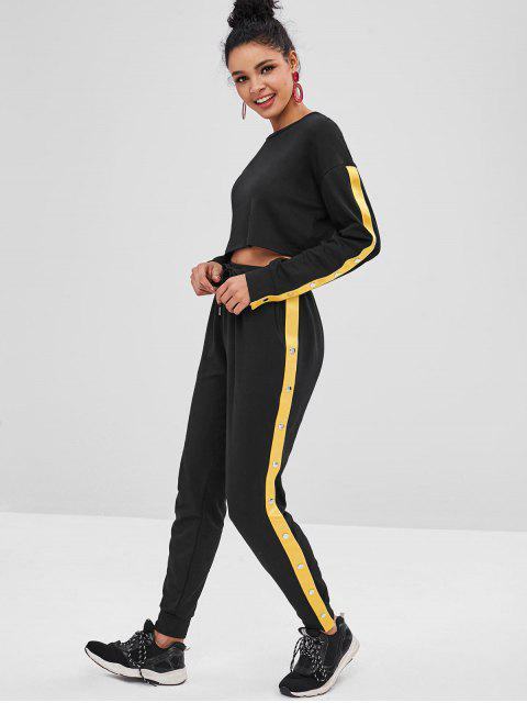lady Rivet Sweatshirt and Drawstring Pants Set - BLACK L Mobile