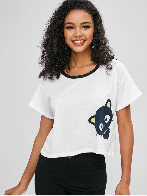 best Cat Graphic T-shirt - WHITE M Mobile