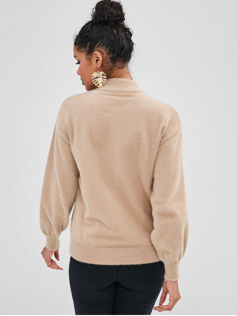 Pull Fourré Graphique à Goutte Epaule - Marron Camel Taille Unique Mobile
