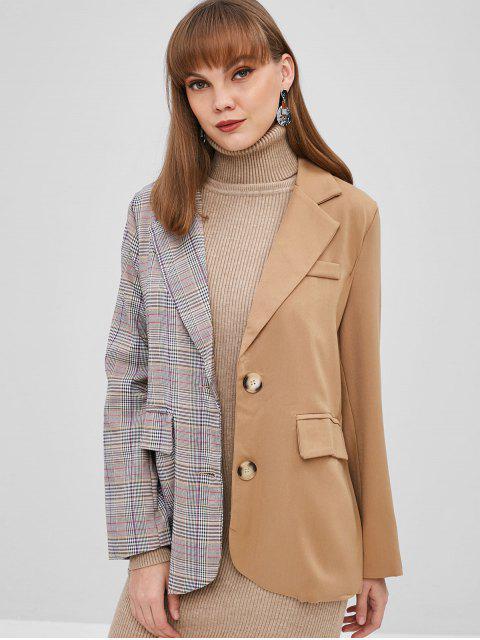 womens Contrast Plaid Button Up Blazer - MULTI M Mobile