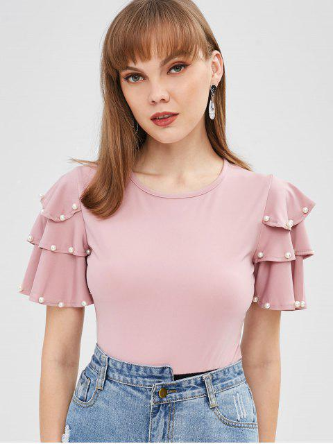 trendy Ruffles Faux Pearls Two Tone Bodysuit - PINK XL Mobile
