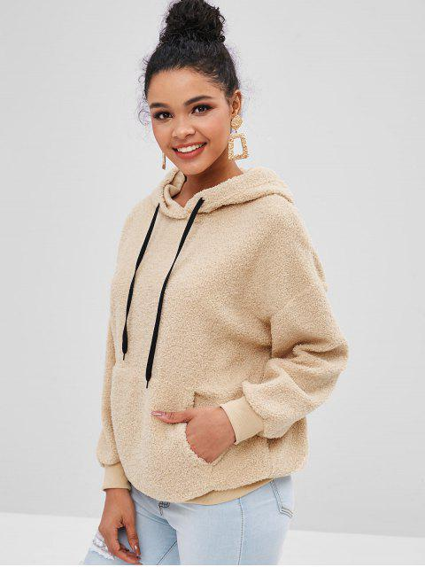 unique Faux Fur Pouch Teddy Oversized Hoodie - CAMEL BROWN M Mobile