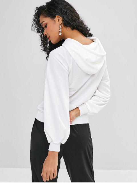 Sweat à Capuche Simple à Manches Raglan à Cordon - Blanc XL Mobile