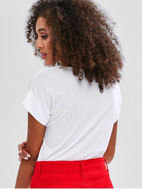 T-Shirt Lettre Graphique à Revers - Blanc Lait Taille Unique Mobile