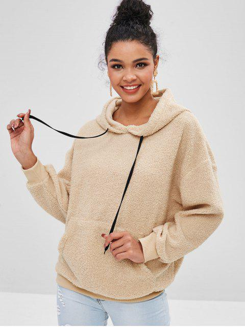 women's Faux Fur Pouch Teddy Oversized Hoodie - CAMEL BROWN L Mobile