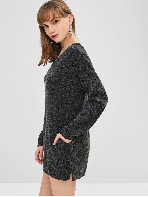 Robe Pull Droite à Goutte Epaule à Col V - Noir S Mobile