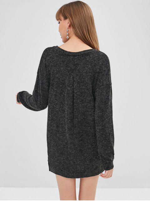 best V Neck Drop Shoulder Straight Sweater Dress - BLACK XL Mobile