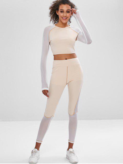 Juego de camiseta y leggings de corte de panel de malla de gimnasio - Albaricoque L Mobile
