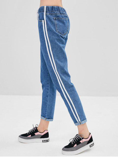 new Side Striped Drawstring Cuffed Jeans - JEANS BLUE L Mobile