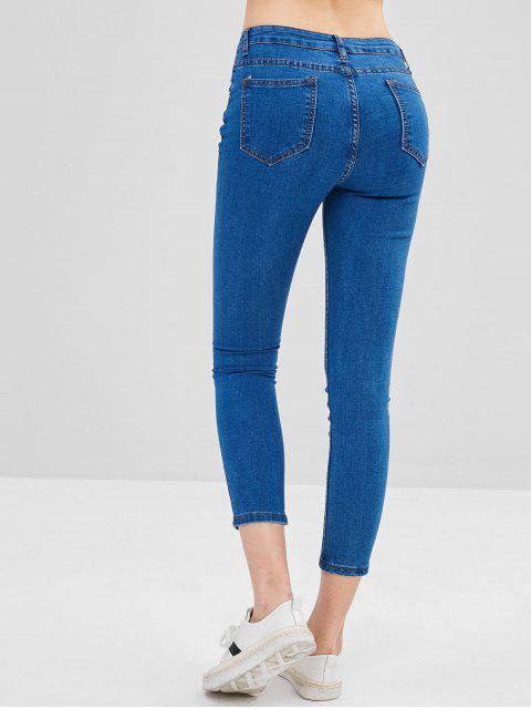affordable Basic Skinny Jeans - BLUE L Mobile