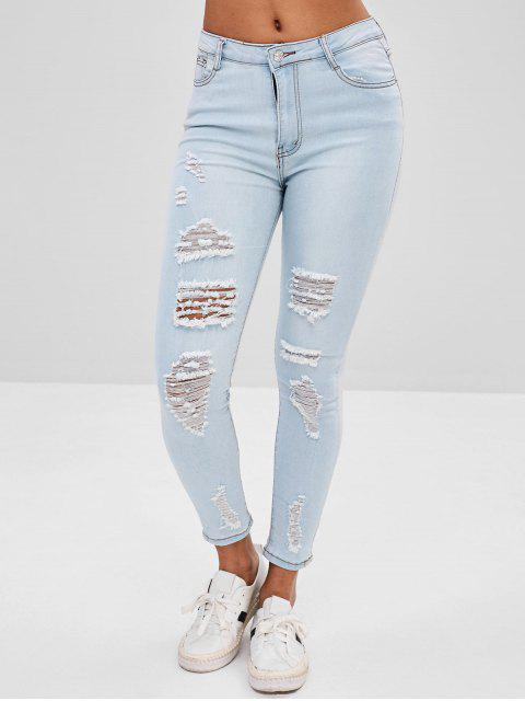 sale Distressed Faded Jeans - LIGHT BLUE M Mobile
